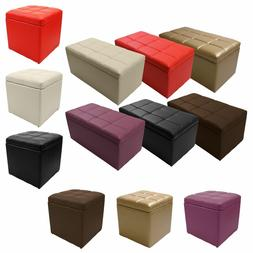 Unfold Leather Storage Ottoman Bench Footstool Seat Cocktail