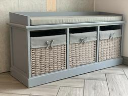 Vintage Wooden Storage Unit Bench Seat Shabby Chic Drawers C