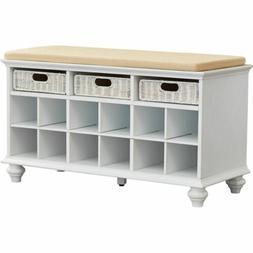 White Finish Wooden Shoe Storage Bench Cubbies Cushion Entry
