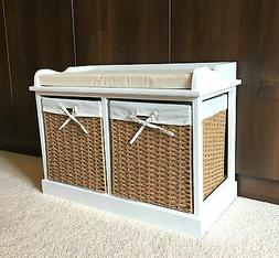 White Wicker Storage Bench Unit Seat Baskets Drawers Cushion
