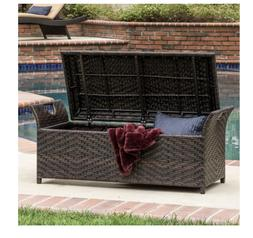 Christopher Knight Home Wing Outdoor Back Less Wicker Storag