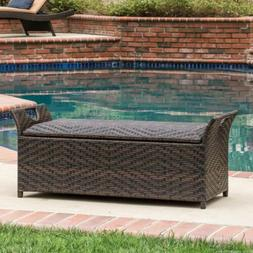 Wing Outdoor Wicker Storage Bench Home Garden Yard Patio Fur