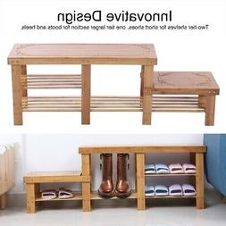 Wood Shoe Bench Storage Rack Wooden Adult Child Shoe Benches