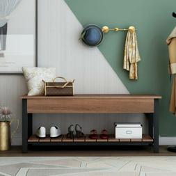 Wood Shoe Bench W/Storage Shelf Versatile Storage Bench for