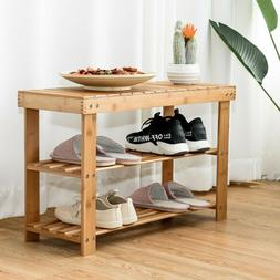 Wooden Bench & Storage Rack 2-Tier Bamboo w Rounded Corners