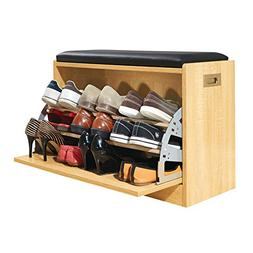 Collections Etc Wooden Shoe Cabinet Storage Bench w/Seat Cus